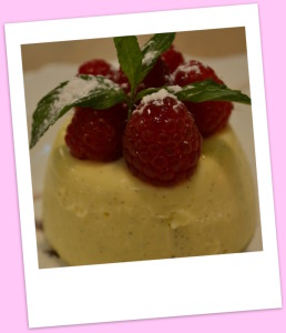 Creamy panacotta with Daylesford raspberries