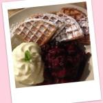 Light waffle, fruit compote, vanilla sabayon