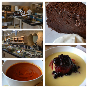 From top left, clock-wise: The bakey; Chocolate nemesis; blackcurrant sponge with custard; tomato & red pepper soup; the deli'.