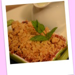 Apple & blackberry crumble with custard